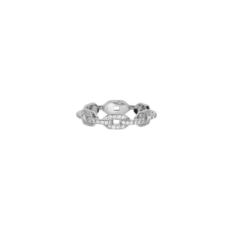 Skinny Flat Chain Link Wedding Ring with Pave White Diamonds