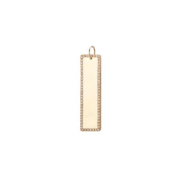 XLong Dog Tag with White Diamond Border