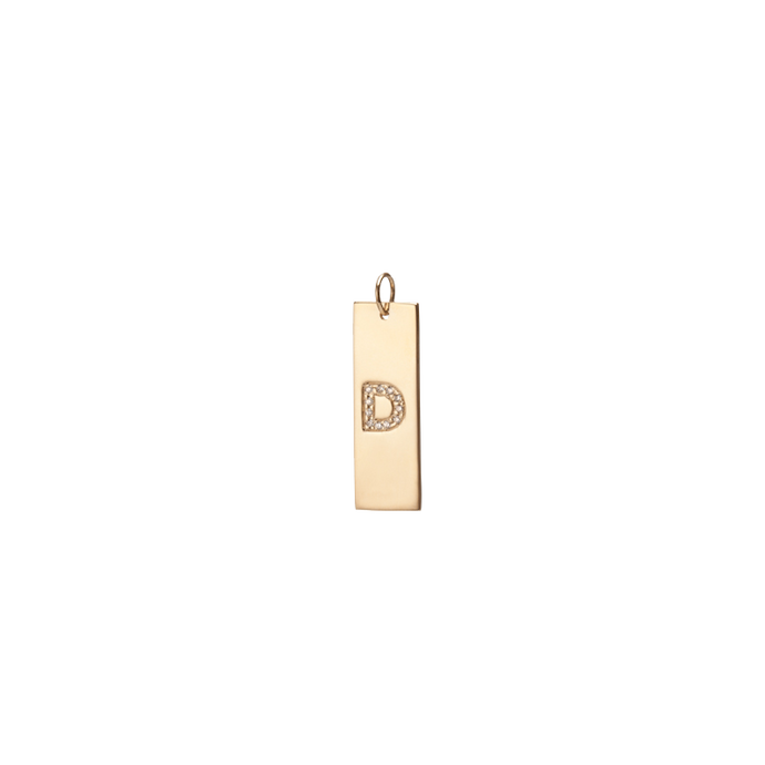 Burnish Dog Tag w/ Diamond Letter