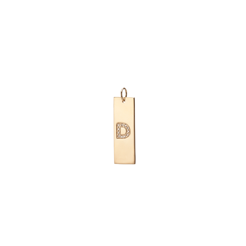 Burnish Dog Tag with Diamond Letter