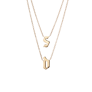 Double Small Gothic Letter Necklace
