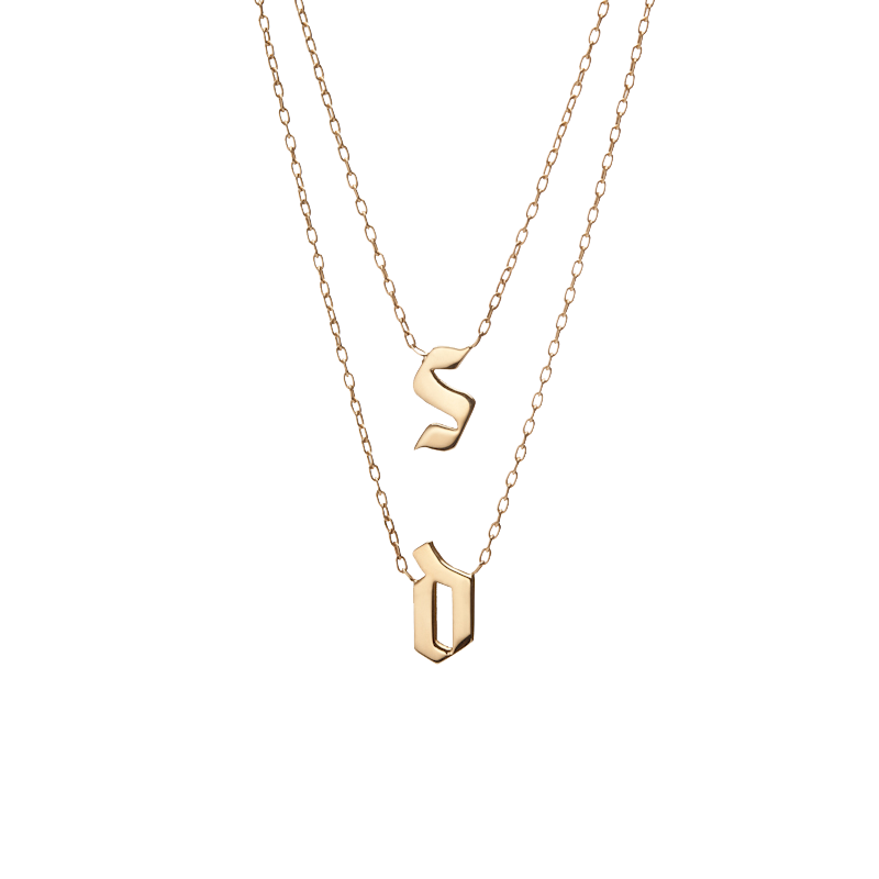 pendant image necklace initial plated letter com wrapables gold
