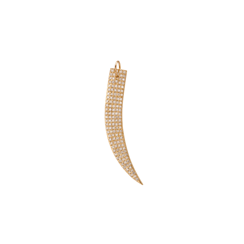 Large Flat Tusk with Pave White Diamonds