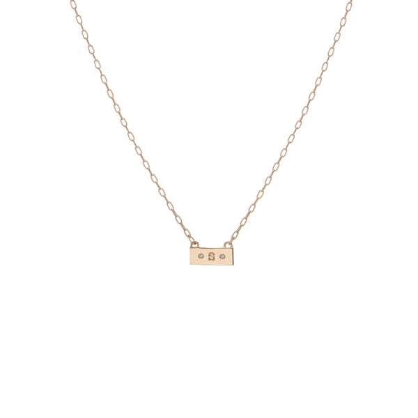 Tiny Dog Tag Necklace with Two Diamonds