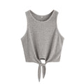 grey Tie Front Ribbed Crop Tank
