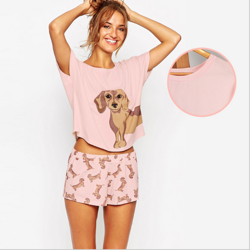 Best Seller! Cute Dachshund Pajama Set - In Pink