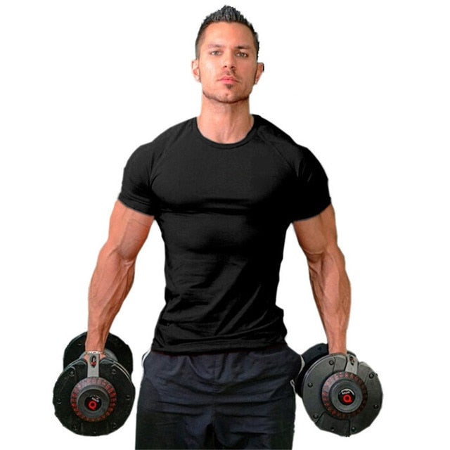 black Short Sleeve Workout Tee