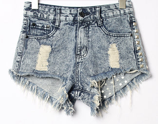 Studded Ripped Denim Shorts