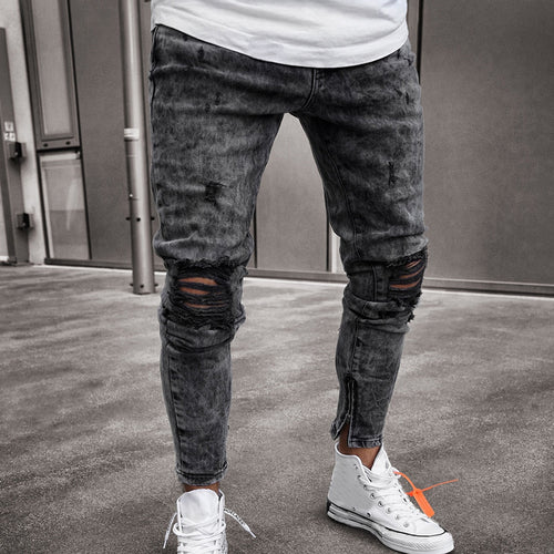 Cotton Ripped Knee Pants