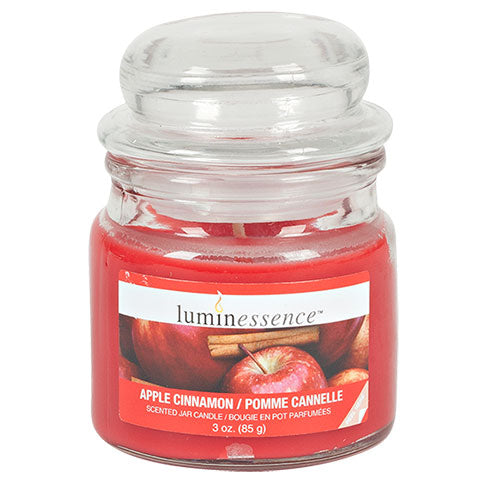 Luminessence Apple Cinnamon Mini Glass Apothecary Jar Candles, 3 oz.