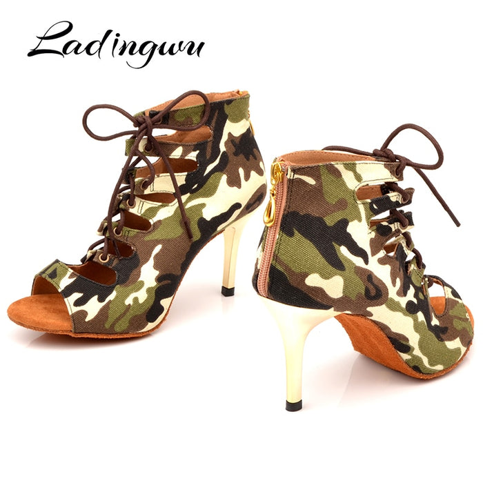 AfroFashion New Brand Camouflage Canvas Dance Boots