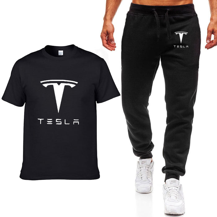 Tesla Fashion Summer Men T-shirt Pants Set