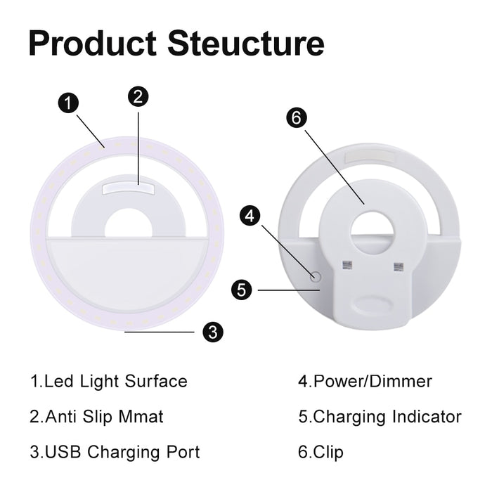 2PCS LED Selfie Ring Light