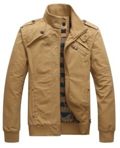 GoBliss Men's Casual JacketsArmy Military Stand collar Outerwear Coat