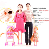 Family 5 People Dolls Suits 1 Mom /1 Dad /2 Little Kelly Girl /1 Baby Son/1 Baby Carriage Real Pregnant Doll Gifts