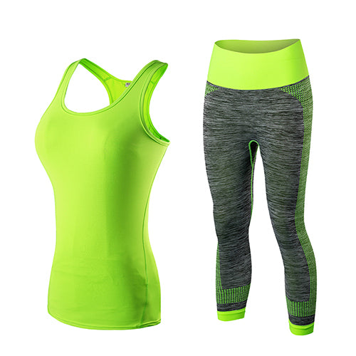 GoBliss 2pcs Sets Women Gym Tank Top & Capri Pants