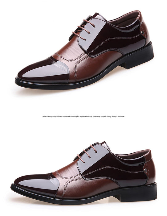 Fashion Oxford Business Men's Genuine Leather Flats Zip Shoes
