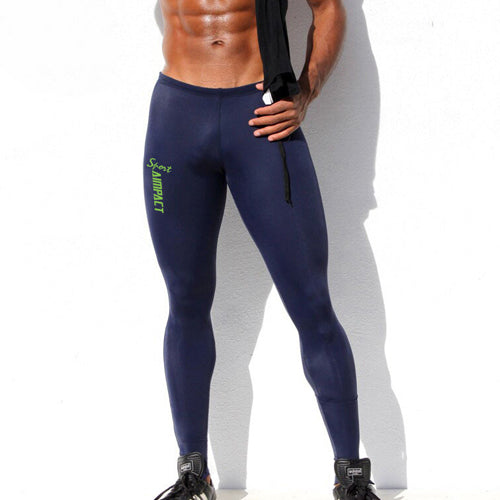 Elastic Slim Fitted Active Workout Pants for Men