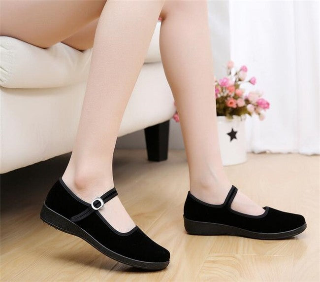 Mary Janes Ladies Flats Buckle Strap Comfortable Women Round Toe Solid Casual Shoes