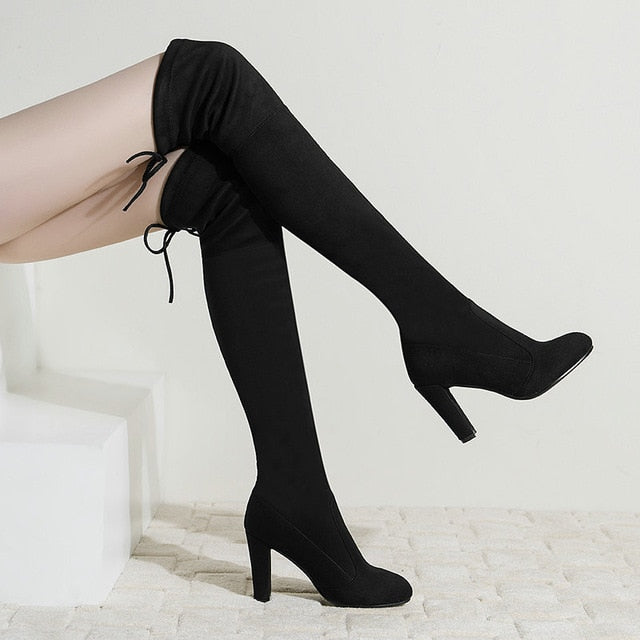 Women Stretch Faux Suede Thigh High Boots Sexy Fashion Over the Knee Boots