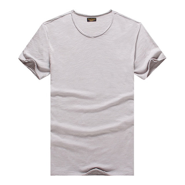Men's V-neck Slim Fit Pure Cotton T-shirt Fashion Short Sleeve T shirt