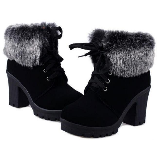 Women Ankle Fur Cuff Thick Heel Combat Platform Lace Up Boots