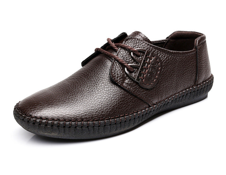 Men's Fashion Leather Lace Up Business Casual Genuine Leather Shoes