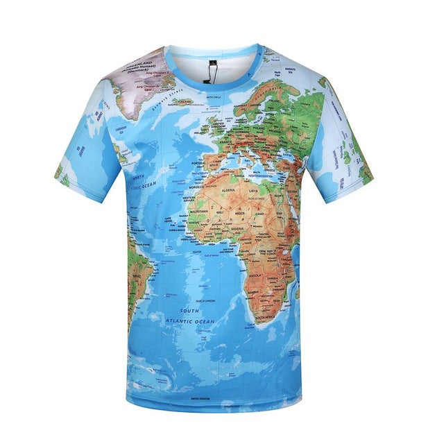 World Map T Shirts Summer Short Sleeve Anime Tops Tee Fashion Mens Clothing