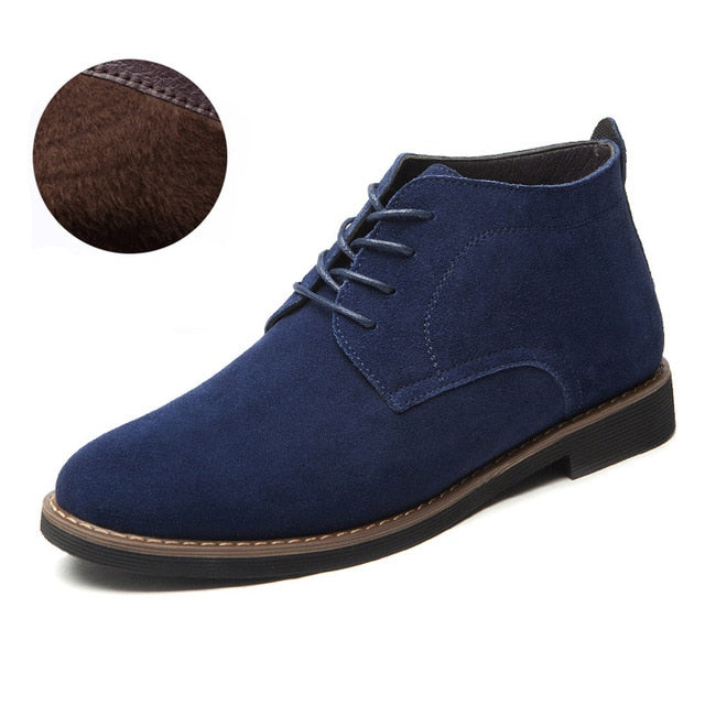 Men Solid Casual Ankle Boots Suede Leather Men Shoes