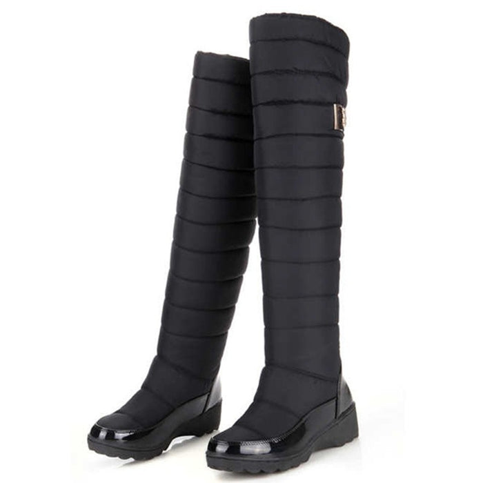 Winter Women Warm Knee High round toe down fur fashion thigh snow waterproof boots