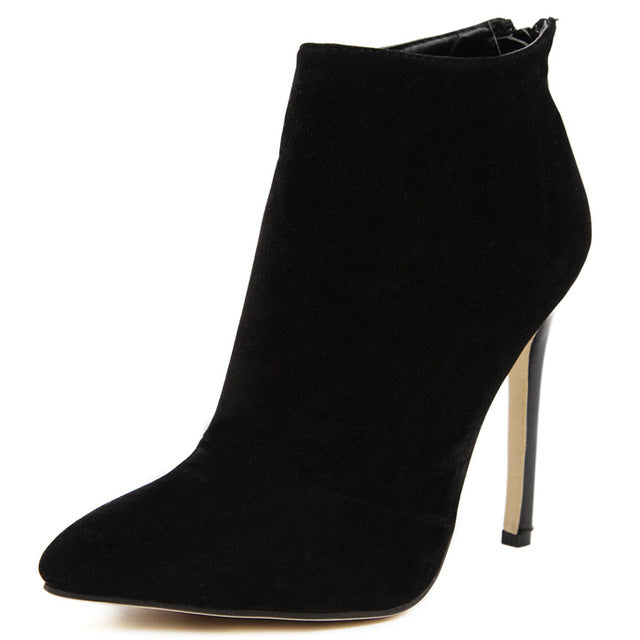 Design Contracted Solid Black Women Pointed Toe Stiletto High Heels Shoes Booties Woman Boots