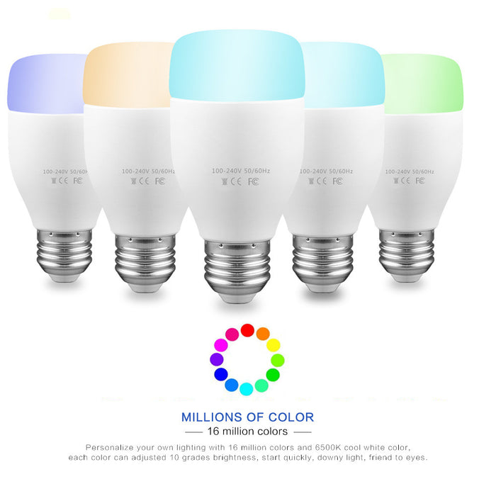 WiFi Smart Bulb 6W E27 RGBW LED Light Support Remote Control / E* Voice Control / Adjust Color Brightness from Smartphone AC 100-240V