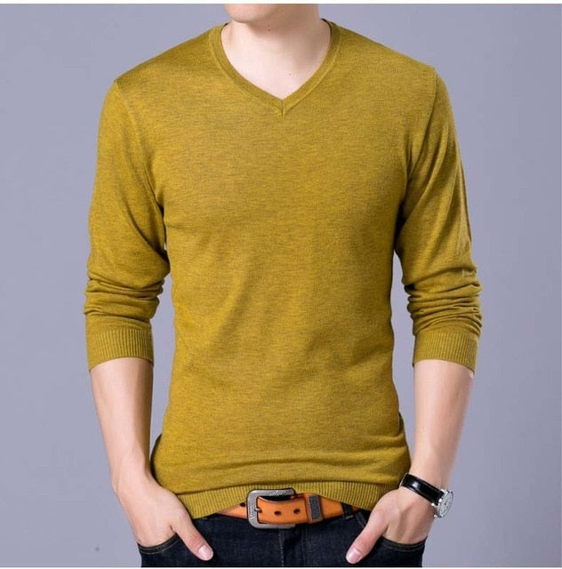 Men's casual V neck solid cotton pullover sweater