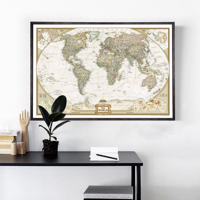 Vintage World Map Detailed Antique Poster Wall Chart 28*18inch