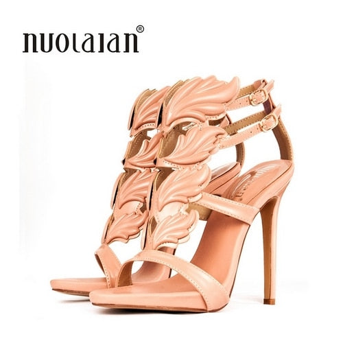 women high heel gold leaf flame gladiator sandals