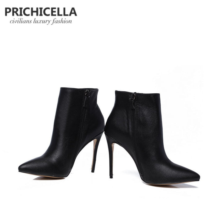 Genuine Leather Winter pointed toe stiletto heels ankle booties