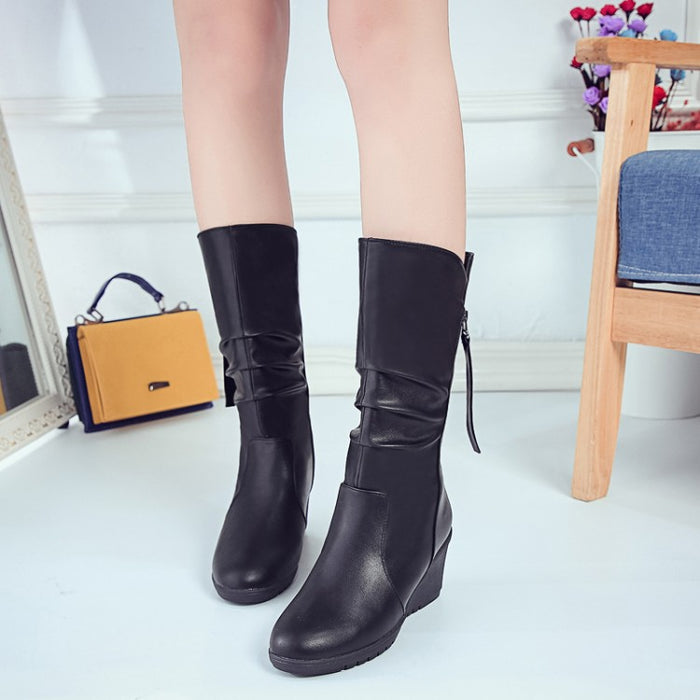 Winter Women Leather High Wedges Platform Casual High Heels Boots
