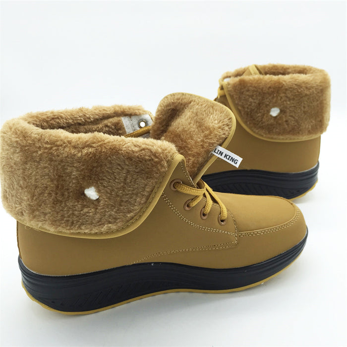 Warm Swing Cotton-padded Wedge Heel Muffins Single Height Increase Boots