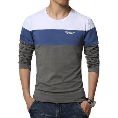 Men's O Neck Patchwork Long Sleeve Clothing Trend Top Tees Shirts