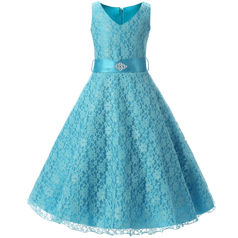 Teenage Girl Lace Flower Girl Dress For Wedding Party Kids Clothes Children's Princess Costume