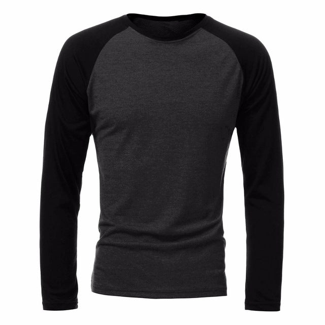 Brand Clothing Men's Long Sleeve Round Neck T-shirts Casual Baseball T-shirt