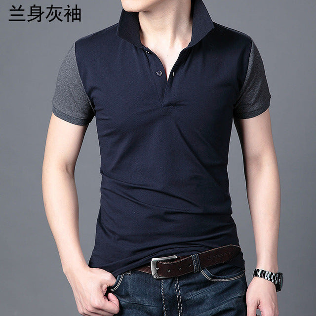 Men's Polo Business Casual Breathable White Striped Short Sleeve T-Shirt
