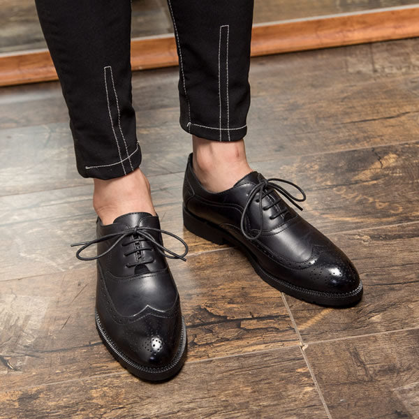 Leather Bullock British Style Men Oxfords Fashion Dress Shoes