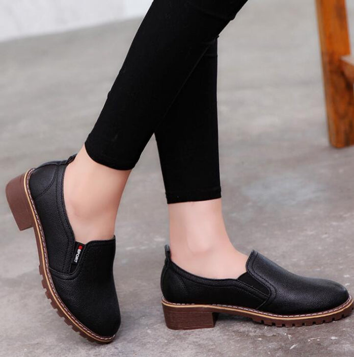 Women Flat Shoes Round Toe Oxford PU bullock Shoes