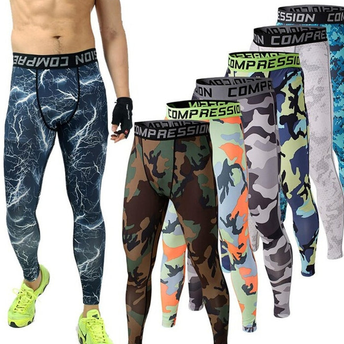 Mens Joggers Camouflage Compression Pants Tights Leggings