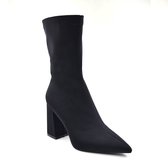 Fashion Stretch Fabric Pointed Toe Slim Ankle Boots Slip On High Heel Sexy Shoes