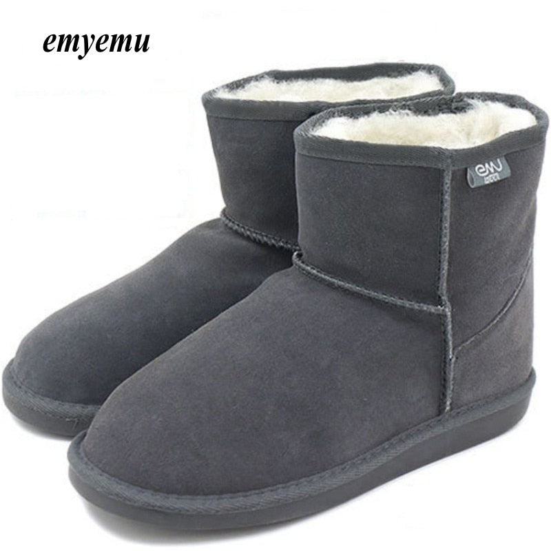 Cow-Suede Genuine leather with 100% merino Wool Winter emu Snow Boots