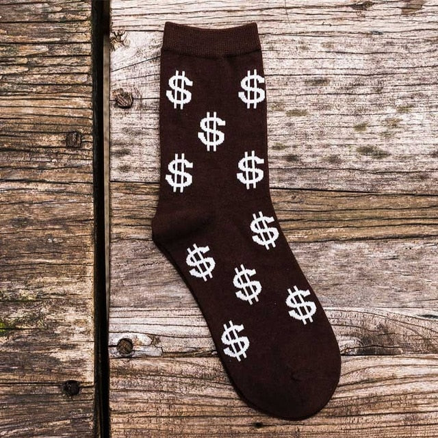 New Novelty Men's Long Socks Money Dollar 3D Patterned Socks