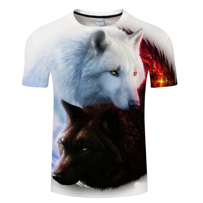 Lovers Wolf 3D Print Men Women Short Sleeve O-neck Tops&Tee