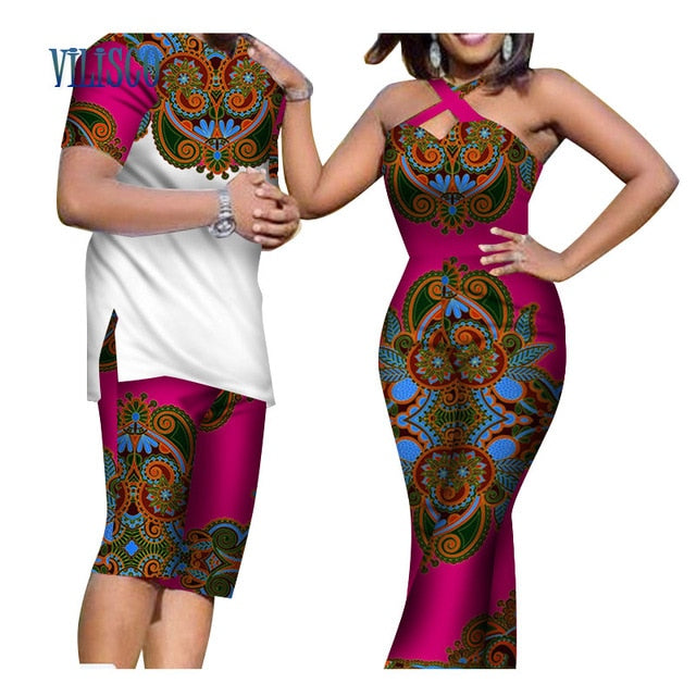 African Print Men Top and Pants Sets for Couple Clothing